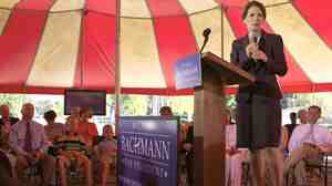 Republican presidential hopeful Rep. Michele  Bachmann of Minnesota speaks to the Christian Chamber of Commerce at Christ Central Ministries in Columbia, S.C., on Monday.