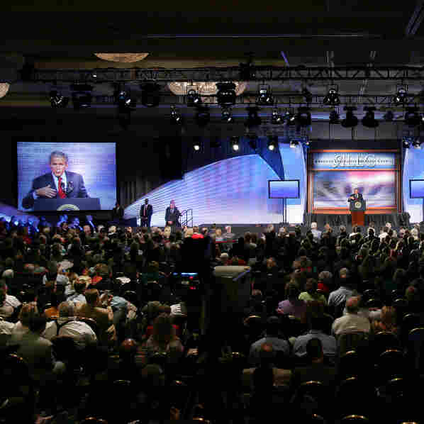 President Bush spoke at the American Legislative Exchange Council's annual meeting in Philadelphia on July 26, 2007.