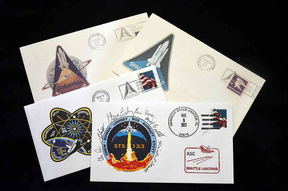 "Collectible envelopes postmarked for the first space shuttle launch in 1981 and the recent last flights of shuttles Discovery and Endeavour. These philatelic ""covers"" were created for all 135 shuttle missions. They're popular items for crews to autograph."