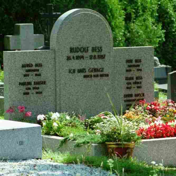 Prior to its destruction, the grave of Hitler-deputy Rudolf Hess.