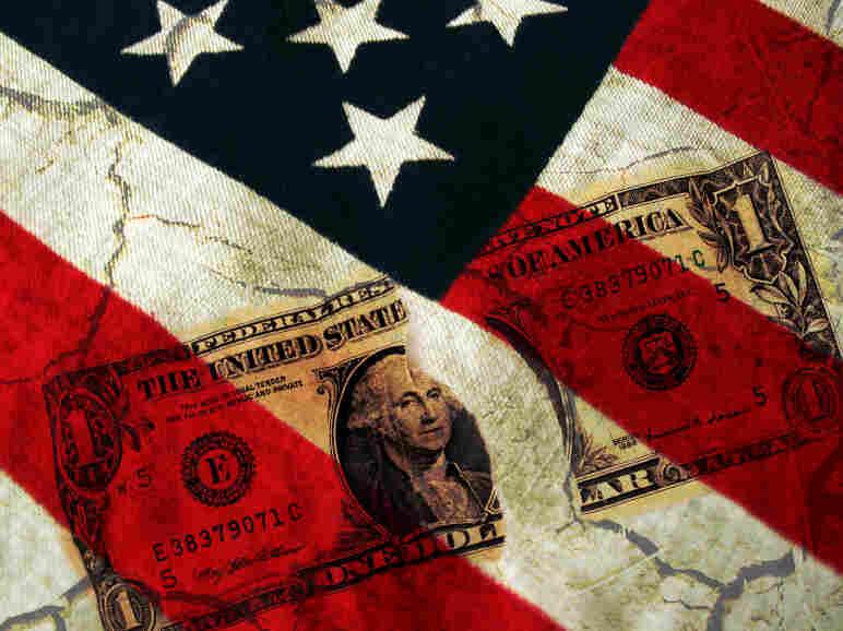 Dollar Bill across American Flag