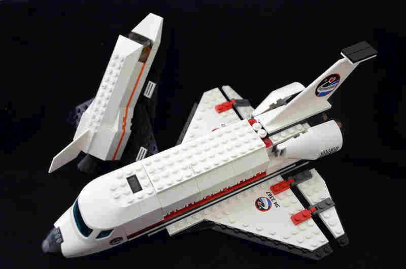 Two space shuttle models built from the popular Lego brick sets. The Denmark-based company released 10 different space shuttle-themed sets over the course of the 30 years of the shuttle program, but only one featured the NASA logo. These two represent the same models flown to space on the shuttle during the final missions.
