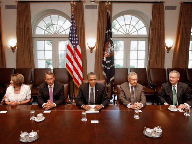 President Obama and Congressional leaders at the White House, July 14, 2011.