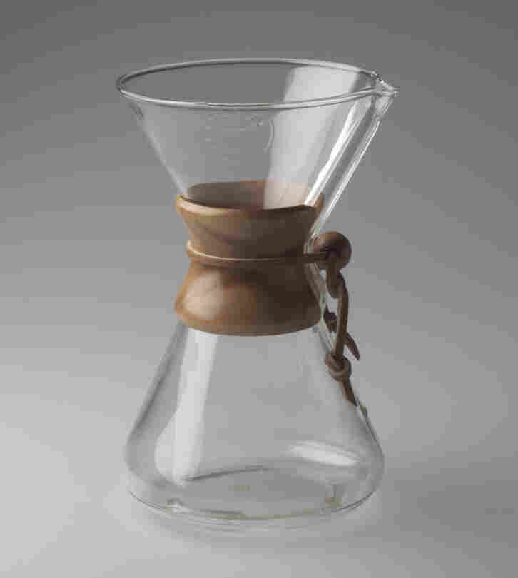 Peter Schlumbohm's 1941 Chemex Coffee Maker, is made of everyday materials: Pyrex glass, wood and leather.