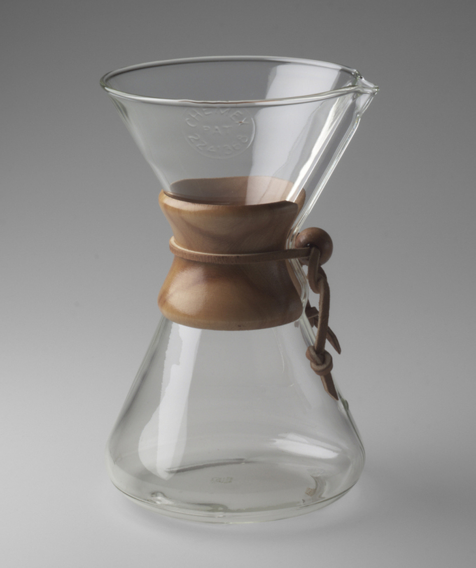 Peter Schlumbohm's 1941 Chemex Coffee Maker, is made of everyday materials: Pyrex glass, wood and leather. (Courtesy of MoMA)