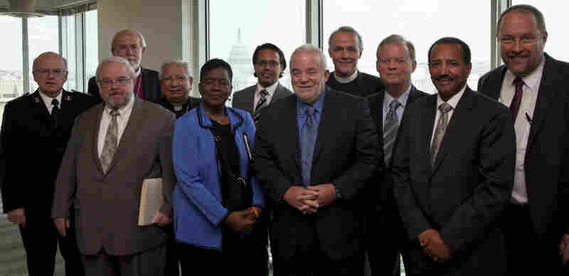 Members of the Circle of Protection gather before meeting with President Obama, Wednesday July 20, 2011.