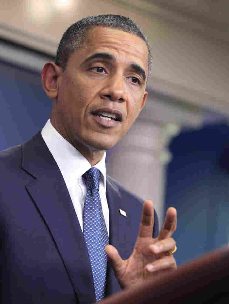 President Obama discusses the continuing budget talks in the briefing room of the White House on Tuesday.