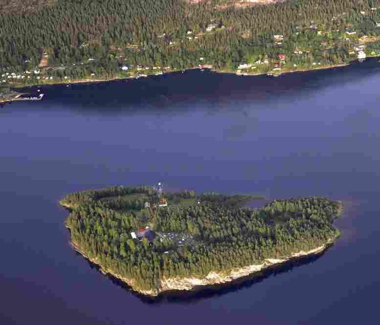 An aerial view of Utoya island taken on Thursday.