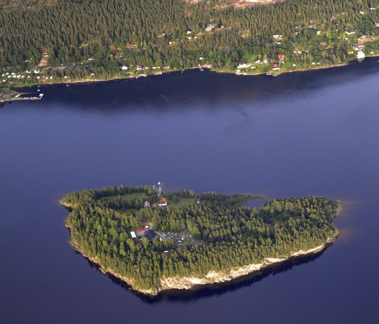 An aerial view of Utoya island taken on Thursday.