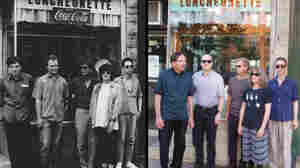 The Feelies in a press photo from 1988, and standing in front of the same diner this year.