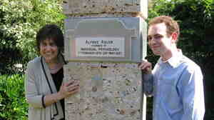 "NPR's Margot Adler and her son, Alex Gliedman-Adler, at the cemetery at the Zentralfriedhof, where her famous grandfather was buried. Alfred Adler, the ""Founder of Individual Psychology,"" died in 1937."