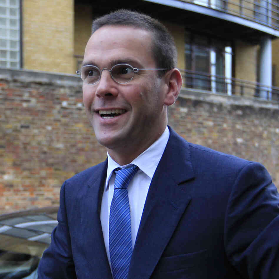 James Murdoch, outside News International's London headquarters on Tuesday (July 19, 2011).