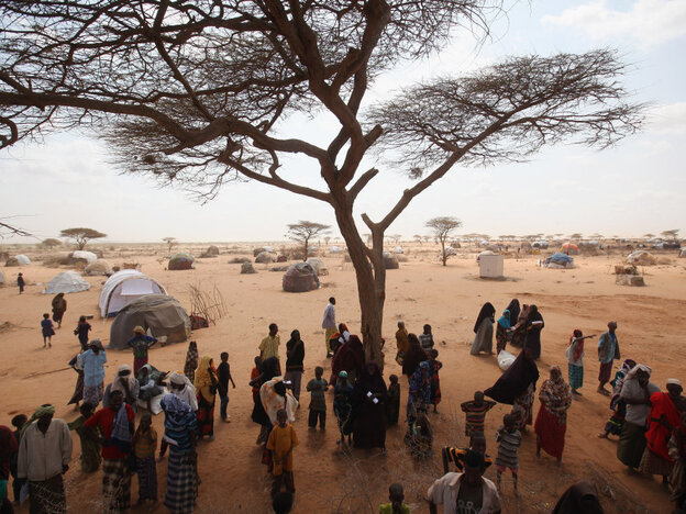 In Dadaab, Kenya, newly arrived Somali refugees lined up for tents Thursday (July 21, 2011).