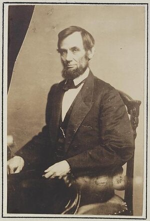 Abraham Lincoln photo taken in 1861 at Mathew Brady's Washington, D.C. studio.
