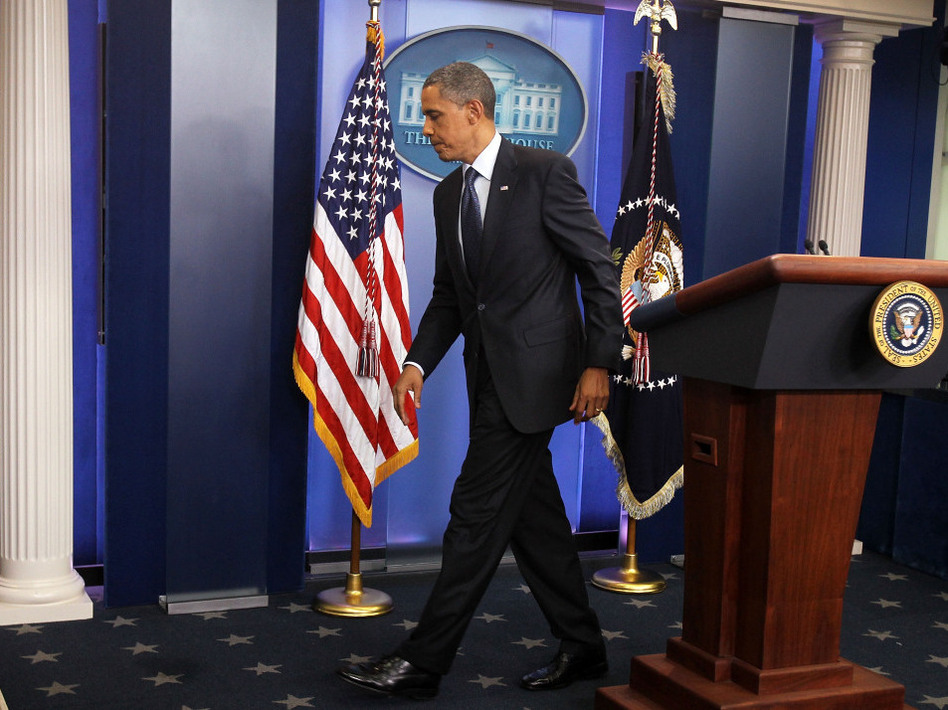 President Obama leaves the White House press briefing room after discussing the breakdown in debt-ceiling talks with Speaker John Boehner, July 22, 2011. (Getty Images)