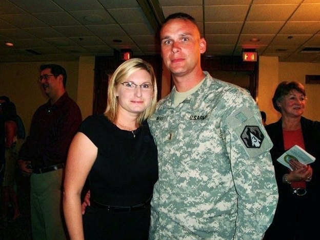 Stephanie Davis, shown with her husband, 2nd Lt. Charles Davis, says even though she's a special education teacher with two master's degrees, she's had trouble finding a job near Fort Hood in Texas. (Courtesy of Stephanie Davis)