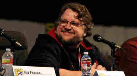 Guillermo del Toro speaks at the Film District Studio Panel in Hall H at Comic-Con 2011.