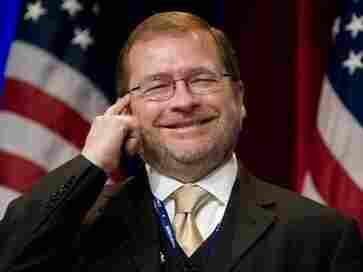 Americans for Tax Reform President Grover Norquist jokes as he is introduced before addressing the Conservative Political Action Conference (CPAC) in Washington on Feb. 19, 2010,
