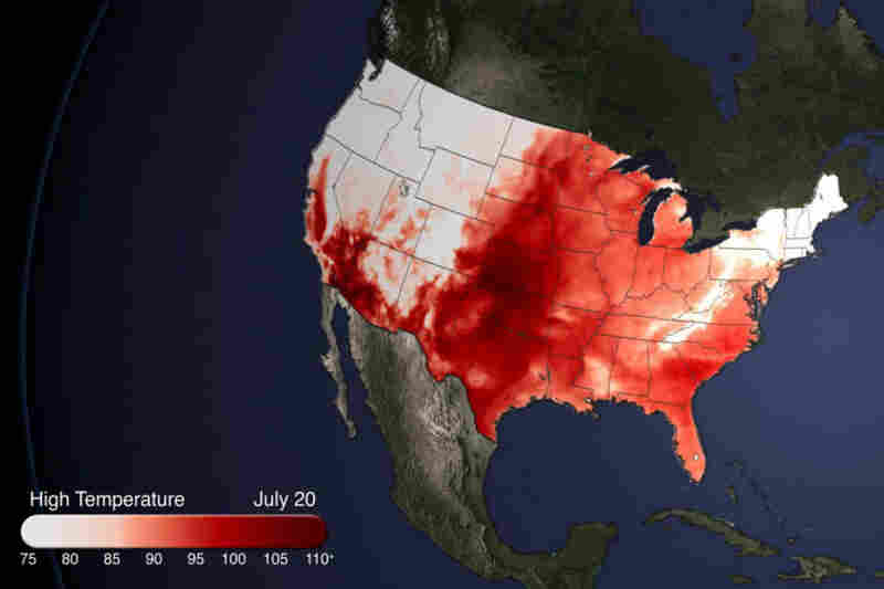 A heat wave has brought temperatures well into the 90s and even beyond 100 for half the country, as seen in this heat map from NOAA.