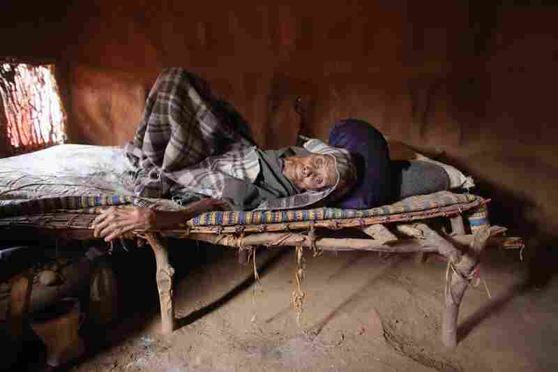 An elderly refugee rests in the Ifo refugee camp on July 20.