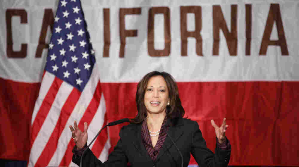 California Attorney General Kamala Harris gives her first news conference in Los Angeles on Tuesday, Nov. 30, 2010.