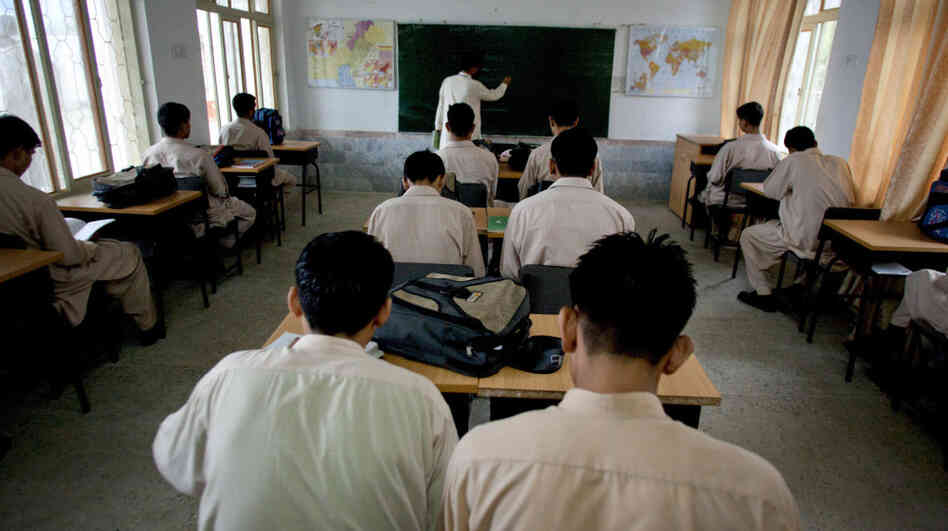 Pakistani boys attend the rehabilitation school Sabaoon in Malakand, adjacent to Pakistan's Swat Valley, in July 2010.