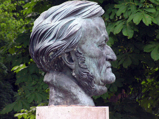 A bust of Richard Wagner (scupted by Arno Breker) stands in Bayreuth Festival Park on the grounds of the Bayreuth Festival.