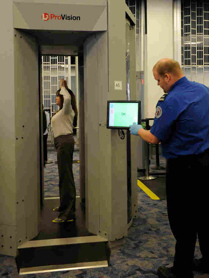 TSA employees demonstrate the new technology at McCarran International Airport in Las Vegas in February.