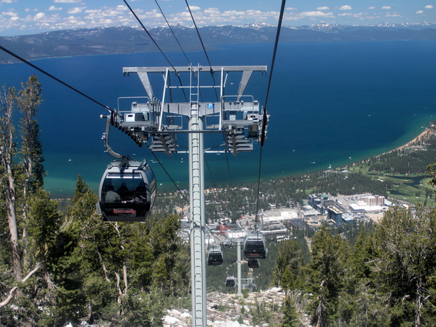 Lake Tahoe's South Shore as seen from a ski resort's gondola.