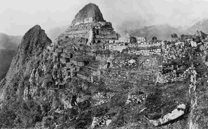 """The Incan ruins of Machu Picchu are situated near Cuzco in Peru. They escaped the attention of the Spaniards and were not """"discovered"""" until 1911 by U.S. explorer Hiram Bingham. Photographed here is Intihuatana Hill and the terraces west of the Sacred Plaza.."""