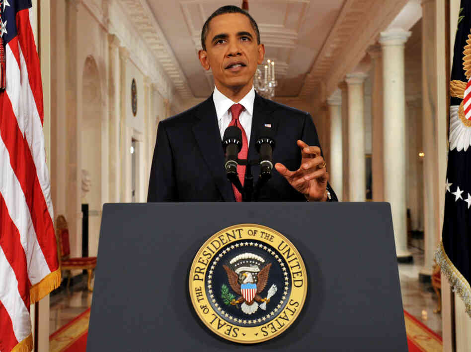 President Obama addresses the nation on the debt ceiling from the East Room of the White House in Washington on Monday.