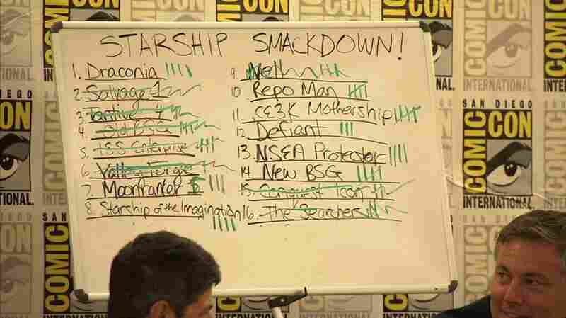 Starship Scoresheet: On Sunday at the San Diego Convention Center, a whiteboard held the standings for the sixteen spacecrafts in the competition.