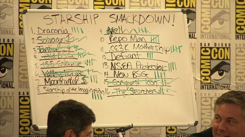 <strong>Starship Scoresheet: </strong>On Sunday at the San Diego Convention Center<em>, </em>a whiteboard held the standings for the sixteen spacecrafts in the competition.