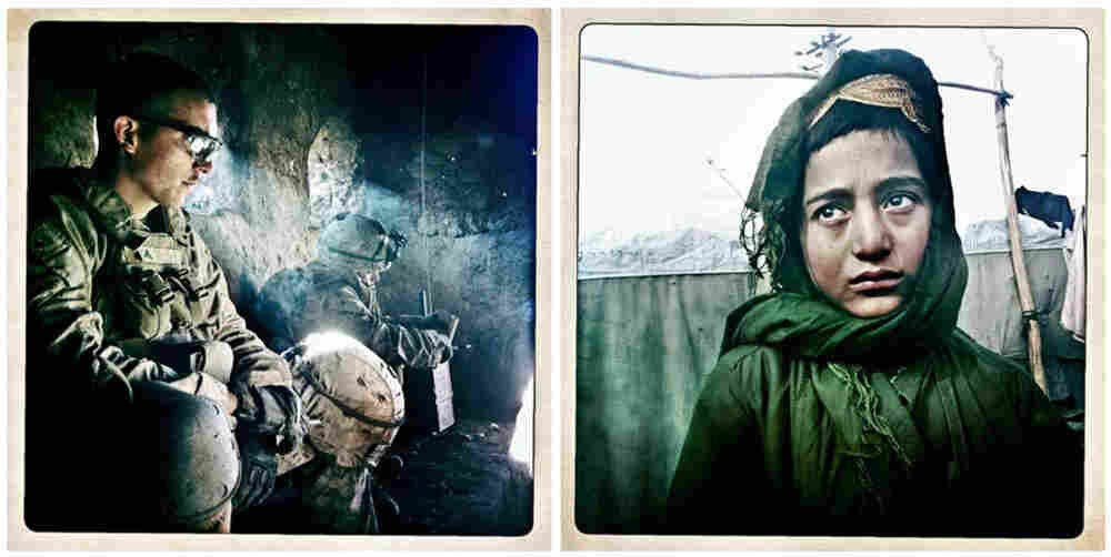 Left: LCpl. Kevin Daly during a military operation near Doghaka village in Musa Qala district, Helmand Province, Afghanistan, on Nov. 7, 2010. Right: Ali Mohammad, a 10-year-old refugee from Kandahar Province, stands in front of his makeshift house in the Charahi Qambar refugee camp in Kabul on Feb. 27.