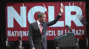 President Barack Obama waves as he prepares to walks off stage after delivering remarks at the National Council of La Raza (NCLR) annual conference luncheon in Washington, Monday, July 25, 2011.
