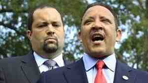 Marc Morial, right, president of the National Urban League, and Ben Jealous, president of the National Association for the Advancement of Colored People, speak to reporters after a meeting with President Barack Obama at the White House in Washington, Thursday, July 21, 2011.