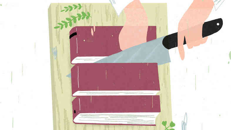 Illustration: A chef cuts up a book.