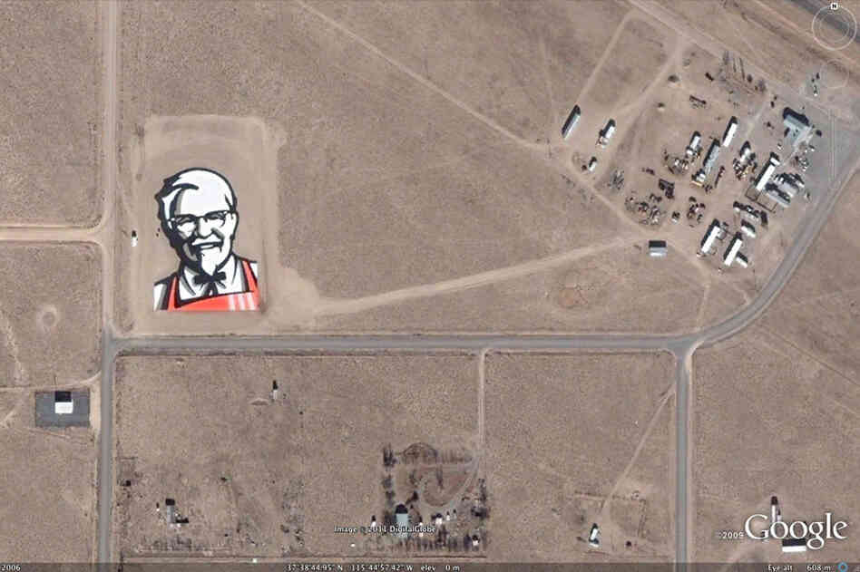 According to their press release, it took KFC six days to construct this gigantic image of Colonel Sanders from 65,000 1-foot-square tiles. The updated logo was built to launch KFC's rebranding in 2006, and was strategically placed in the desert in Rachel, Nev. Why there? Perhaps KFC was considering all the eyes that would be scoping out the nearby Area 51 ...