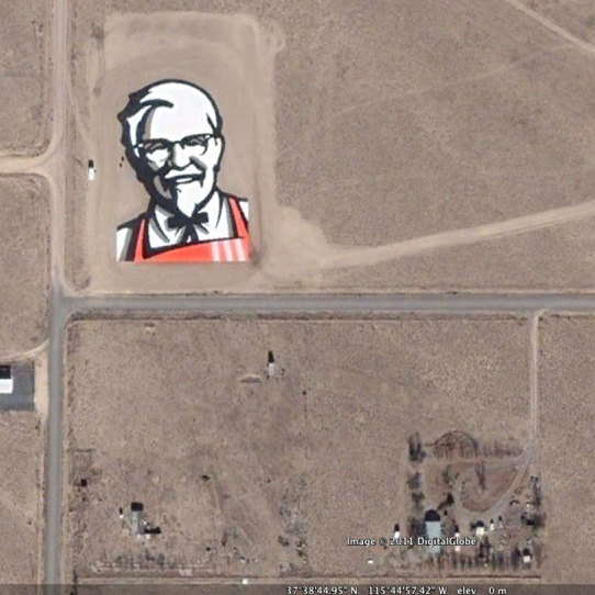 KFC astrovertisement seen from above in Google Maps.