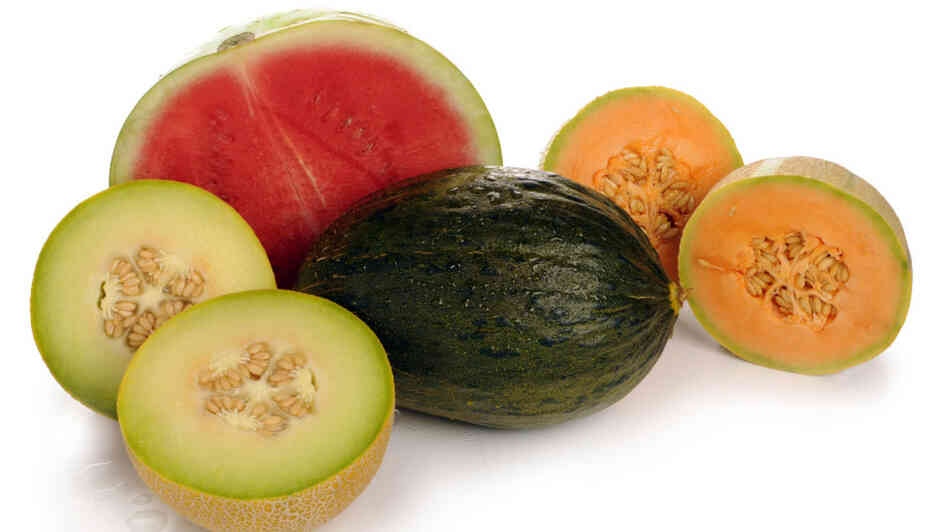 An assortment of melons, including watermelon and cantaloupe