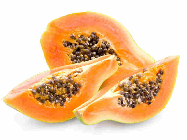 Sliced papayas