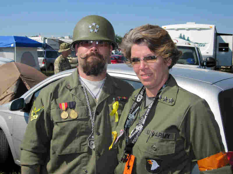 """Allied Gen. John Holme, aka """"Mad Kow"""" (left), and Nicky Angel Valor are seen at the """"Invasion of Normandy"""" paintball battle — the largest event of its kind in the world.  """"This is our Superbowl,"""" Valor says."""