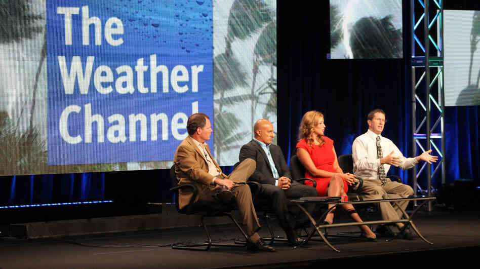 Bob Walker, Executive Vice President and General Manager of Networks and Content, The Weather Channel, meteorologists Jim Cantore and Stephanie Abrams and hurricane expert Dr. Rick Knabb speak during The Weather Channel portion of the 2011 Summer TCA Tour on Wednesday.