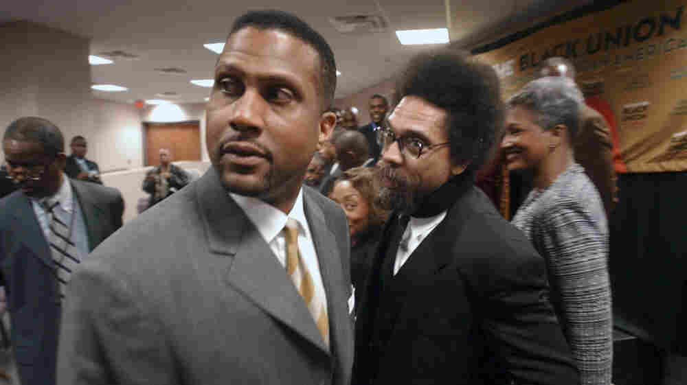 "Princeton University professor Dr. Cornel West, right, talks to television and radio personality Tavis Smiley during the State of Black Union 2005 conference at the New Birth Missionary Baptist Church in Lithonia, Ga. Activists West and Smiley are planning a 15-city ""Poverty Tour"" to bring attention to the needy and to what they say are the failings of President Barack Obama."