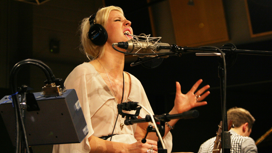 "Ellie Goulding sings ""Your Song,"" which she dedicated to the late Amy Winehouse, at NPR headquarters in Washington D.C., on July 25. (NPR )"