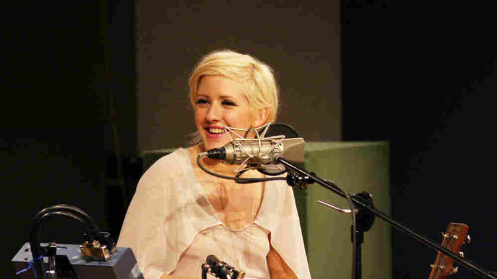 Ellie Goulding listens to host Michel Martin's remarks at NPR headquarters in Washington D.C., on July 25.
