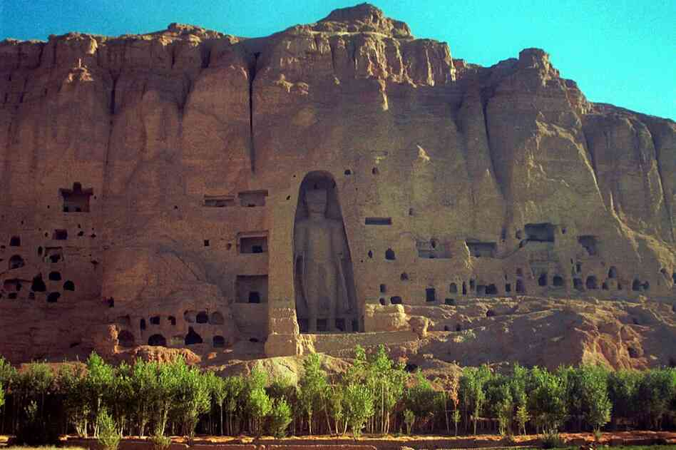 The larger of the two Buddha statues that towered over the Bamiyan Valley in central Afghanistan. This photo was taken before a 2001 Taliban campaign that destroyed Buddha statues throughout Afghanistan. International teams are now working to restore the sixth century statues.