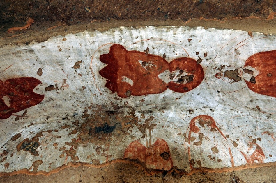 Damaged paintings at the top of the cave's entrance are shown in 2008.  (AFP/Getty Images)