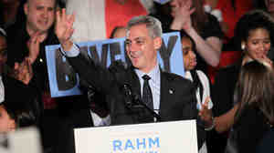Rahm Emanuel celebrated with supporters at the Journeymen Plumbers' Union Local 130 Hall after winning the mayoral election in February. Now, Emanuel is in a test of wills with unions over closing the city's massive budget gap.