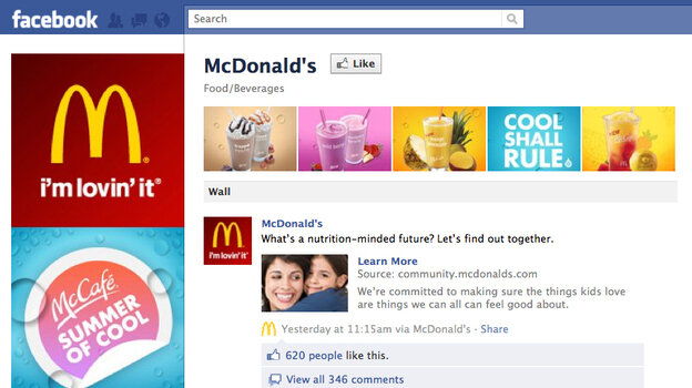McDonald's Facebook page on July 27.